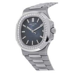 Patek Philippe Nautilus 5713/1G Diamond Bezel in 18k White Gold Watch
