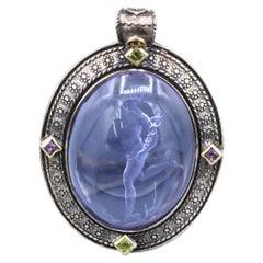 Pruple Italian Murano Glass Pendant Glass Cameo of Greek Ermes God