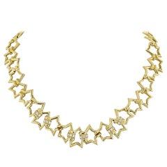 Tiffany & Co. 18K Yellow Gold Interlocking Star Link Necklace
