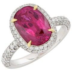 Burma Ruby AGL Graded No Heat 3.7 Carats Platinum and Diamond Ring