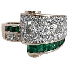 Art Deco Emerald Diamond Platinum Bridge Ring