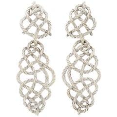 Buccellati White Gold 'Crepe de Chine' Pendant-Earrings