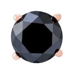 2.12 Carat Round Black Diamond Single Stud Earring for Men in 14 K Rose Gold
