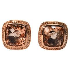 David Yurman Champagne Morganite Sterling Earrings w Diamond Rose Gold Accents