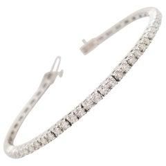 2.45 Carats Diamond Cut Tennis Bracelet 14 Karat White Gold