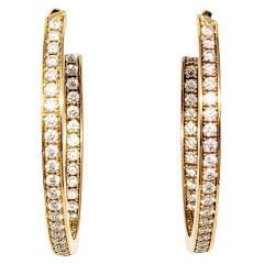 Cartier 2.00 Carat Round Diamond Inside-Outside Large Hoop Earrings Yellow Gold