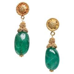 22K Gold and Emerald Drop Earrings by Deborah Lockhart Phillips