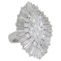 GIA Certified Ballerina Cluster Platinum Diamond Ring