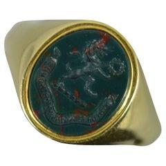 Impressive 18 Carat Gold and Bloodstone Lion Intaglio Signet Ring Richardson