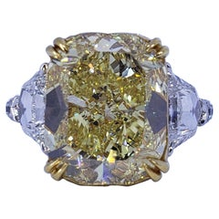 David Rosenberg 8.02 Carat Cushion Fancy Yellow VS1 GIA 3 Stone Engagement Ring