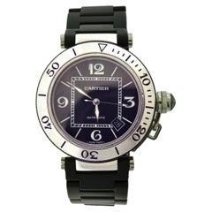 Cartier Pasha Steel Seatimer Black Band Watch