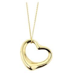 Elsa Peretti for Tiffany & Co. 18 Karat Yellow Gold Open Heart Pendant Necklace