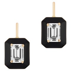 Goshwara Rock Crystal Emerald Cut with Black Enamel and Lever Back Earrings