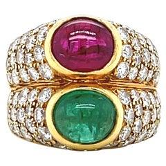 Bulgari Emerald Ruby Diamond 18 Karat Gold Ring