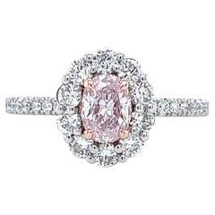 Modern GIA Fancy Oval Cut Pink Diamond Platinum & Gold Engagement Ring