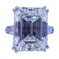 David Rosenberg 17.60 Ct Emerald Cut H VS1 GIA 3 Stone Diamond Engagement Ring