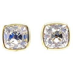 Custom GIA 6.25 Carat Total Weight Old Mine Cut Diamonds 18k Gold Studs