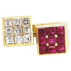 Vintage Ruby Diamond 18 Karat Gold Bypass Ring