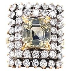 Retro Victorian Revival 6.64 Carat Emerald Cut Yellow Sapphire Diamond Gold Ring