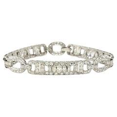 7.43 Carat Round and Marquis Natural Diamond Ornate Link Bracelet in Platinum