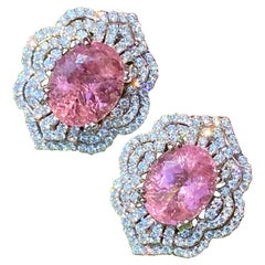 Exquisite Pair of 13 Carat Pink Tourmaline and Diamond 18K White Gold Earrings