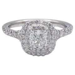 Tiffany & Co. Double Soleste Platinum Diamond Engagement Ring 0.86 Carats Total