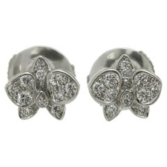 Cartier Caresse D'Orchidees Diamond White Gold Small Stud Earrings