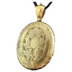 Victorian Silver Gilt Locket Pendant, Garter Belt, Floral Engraved