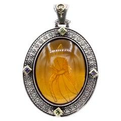 Yellow Italian Murano Glass Pendant Glass Cameo of Greek Dragonfly