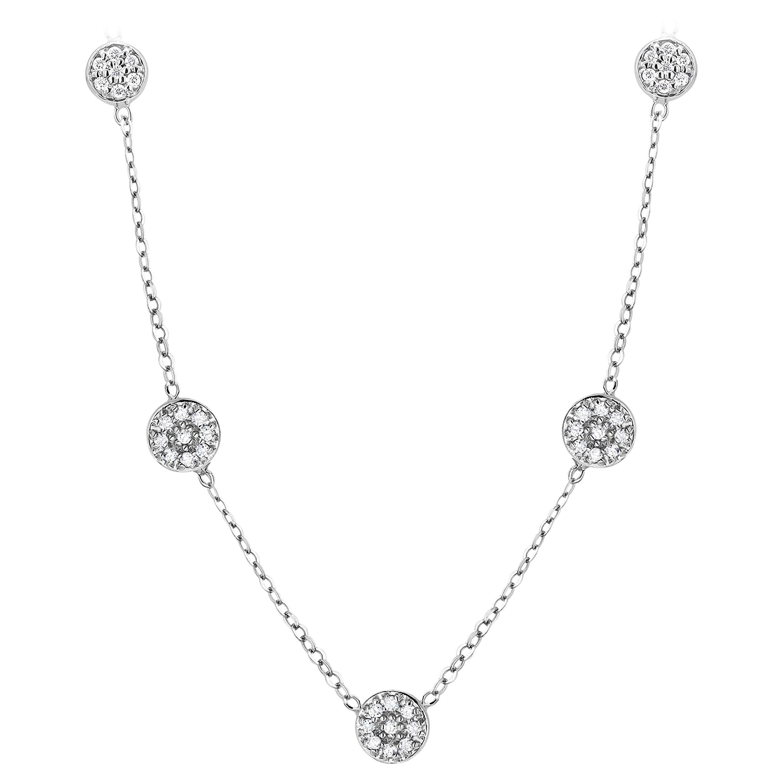 Five Diamond Circle Stations White Gold Pendant Necklace