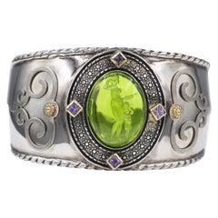 Green Italian Murano Glass Cuff Bracelet Glass Cameo of Venus and Cupid Godess