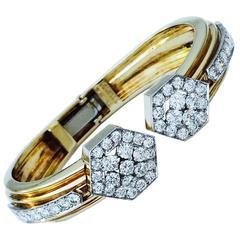 1970s David Webb Diamond Gold Platinum Cuff Bracelet
