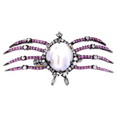 Pearl and Pink Sapphire Victorian Spider Ring
