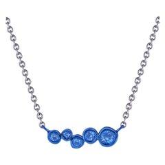 Blue Coated Silver Bar Pendant with 0.15 Carat Blue Sapphires Hi June Parker