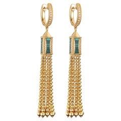 2 Carats Malachite and Diamond Dangle 14K Yellow Gold Earring