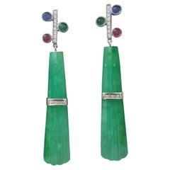 Tutti Frutti Style Ruby Sapphire Emerald Gold Diamonds Jade Dangle Earrings