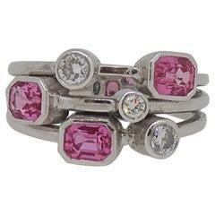 Pink Sapphire & Diamond Cluster Ring 18 Karat White Gold