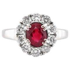 1.01 Carat Natural Ruby and Diamond Halo Ring Set in Platinum