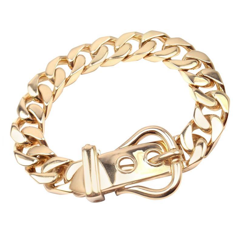9bd139e8d4f93 Hermes Gold Curb Link Chain Large Buckle Bracelet