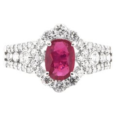 GIA Certified 1.01 Carat Natural Untreated Ruby and Diamond Ring Set in Platinum