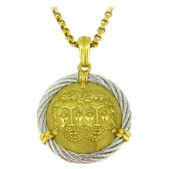 Fred Paris Force 10 Gemini Zodiac Pendant, 18kt Yellow Gold and Steel