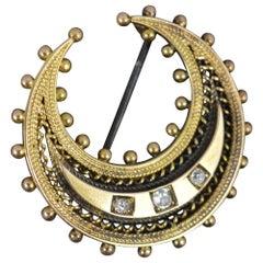 Stunning Victorian 15ct Gold Old Cut Diamond Crescent Brooch
