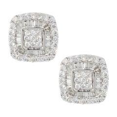 0.66 Carat Invisible Set Diamond Pave Stud Earrings 14 Karat in Stock