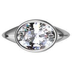 Platinum Sculpture GIA Diamond 2.02 Carats Ring