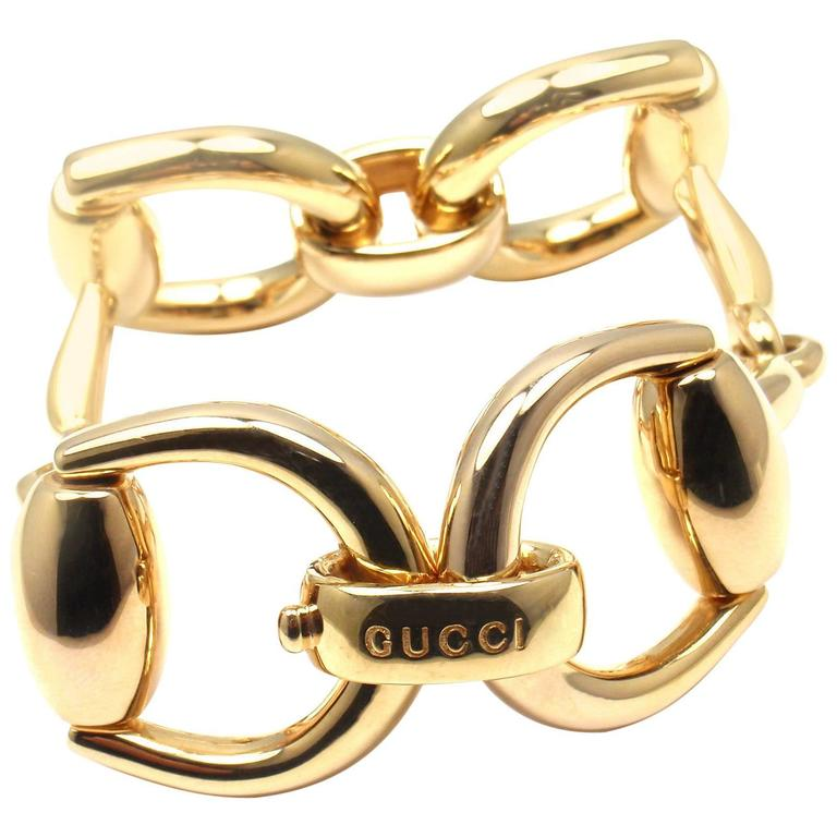 Gucci Gold Horsebit Large Link Bracelet For