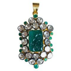 9.12 Carat Carved Emerald Rose Cut Diamond Pendant Necklace