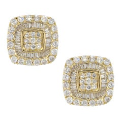 0.88 Carat Invisible Set Diamond Pave Stud Earrings 14 Karat in Stock