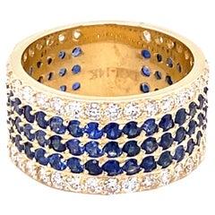 4.38 Carat Round Cut Blue Sapphire Diamond Band 14 Karat Yellow Gold