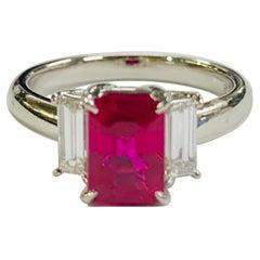 GIA Certified 2.11 Carat Burmese Ruby and Diamond Platinum Ring
