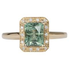 2.14ct Blueish Green Montana Sapphire Diamond Halo 14K Gold Engagement Ring